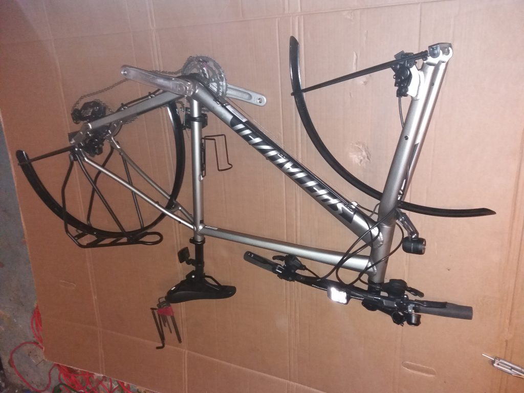 Bike taken apart for packing